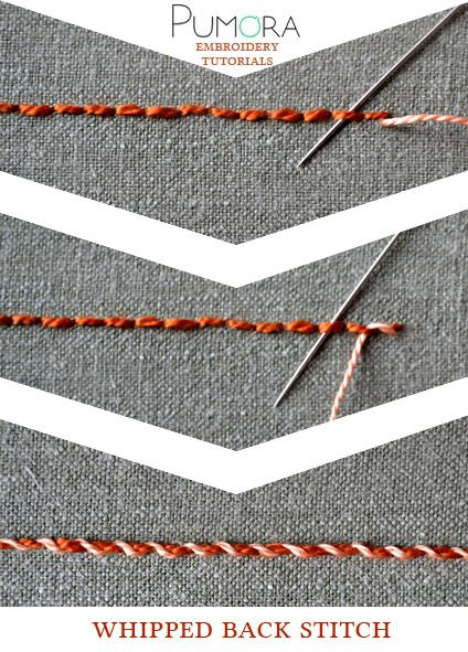 Pumora's stich-lexicon: whipped back stitch; umwickelter Rueckstich/Rückstich…