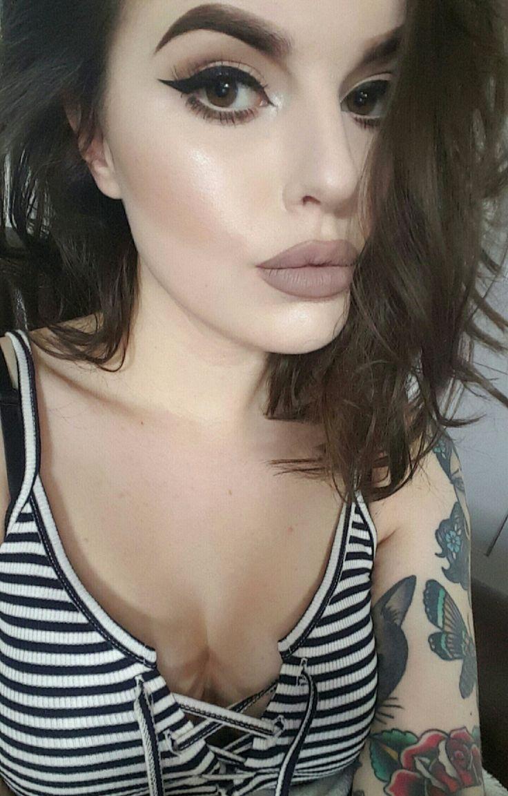 Kat Von D trooper tattoo liner Jeffree Star Posh spice + NYX corset lip lingerie Kiss wispy lashes