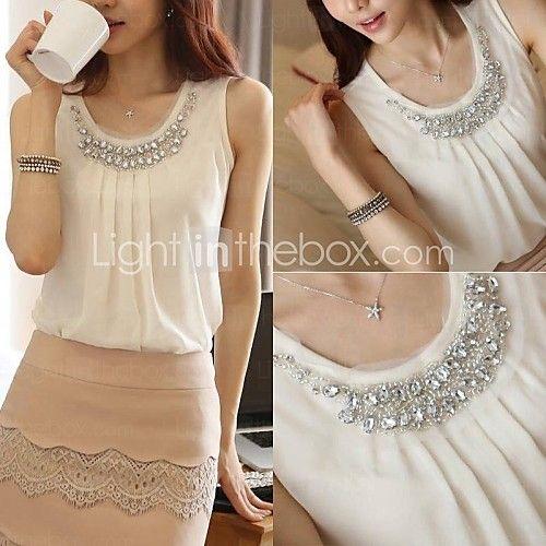 duopindun @ nieuwe vrouwen sexy witte chiffon zomer losse tops mode toevallige t-shirt blouse - USD $10.45