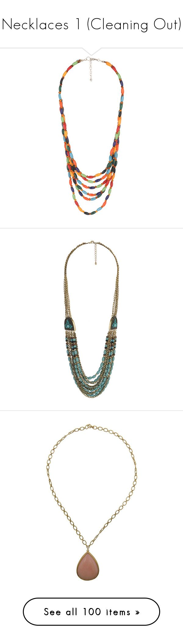 """""""Necklaces 1 (Cleaning Out)"""" by dev-lynn ❤ liked on Polyvore featuring jewelry, necklaces, accessories, multi color beads necklace, layered chain necklace, tri color necklace, multi color necklace, double layer necklace, women and beading necklaces"""