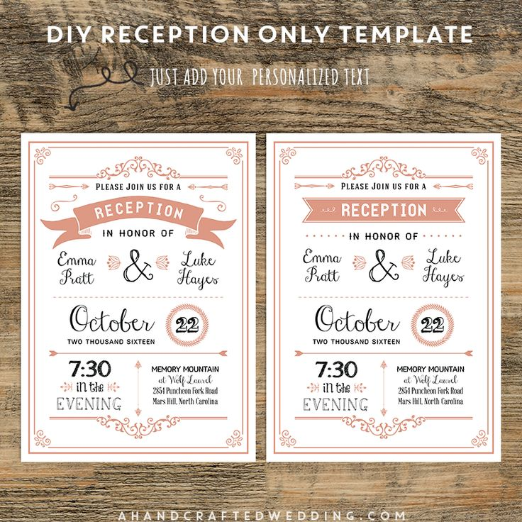 coral diy reception only invitation ahandcraftedwedding wedding printables - Wedding Reception Only Invitations