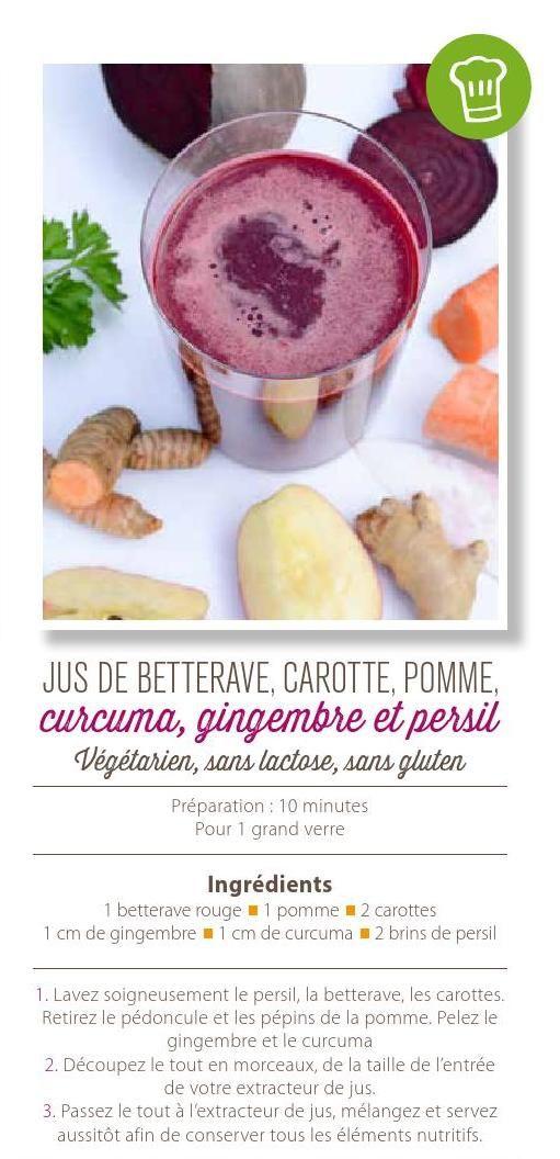 Jus de betterave, carotte, pomme, curcuma, gingembre et persil #ClippedOnIssuu de Magazine Sequoia Octobre 2015