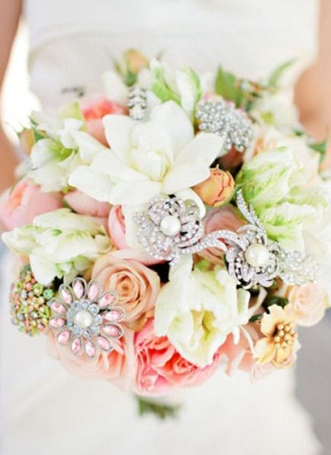 Add Beauty To Your Wedding Bouquet By Adding Brooches #wedding #love #inspiration