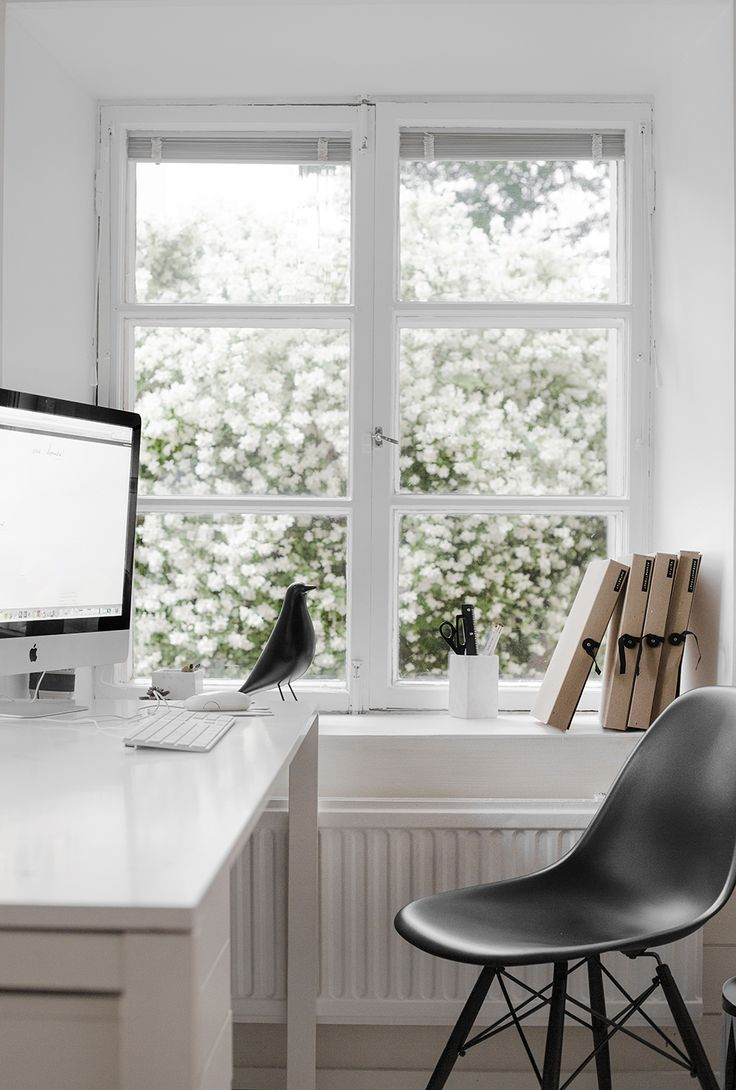 I really like this window for an office space. Whenever you having writers block or just need a minute you can open it and feel the fresh air, listen to the birds, and smell the flowers!