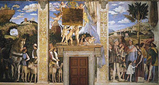 Arrival of Cardinal Francesco Gonzaga, fresco by Andrea Mantegna, completed 1474; in the Camera degli Sposi, Palazzo Ducale, Mant...