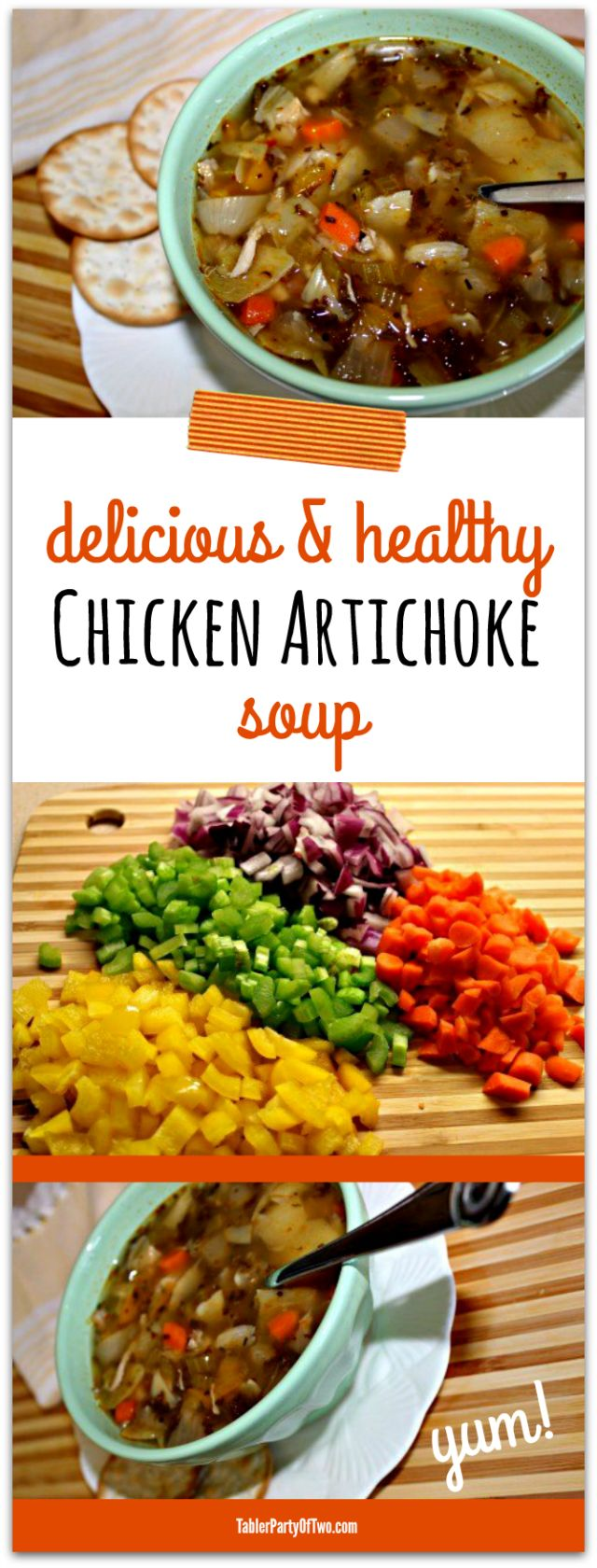Delicious and healthy chicken artichoke soup... so amazingly yummy for cold winter days! TablerPartyofTwo.com