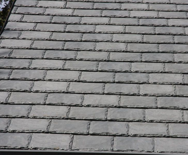 These recycled rubber roof shingles from Euroshield are an economic as well as environmentally responsible green building material. Made from 75% recycled materials, they're designed to replicate classic thick chiselled-edge slate shingles. They're also