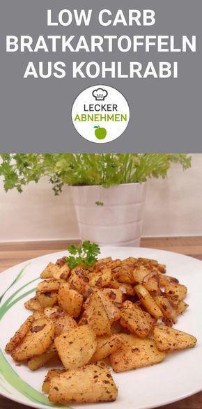 Köstliche Low Carb Bratkartoffeln aus Kohlrabi. Diese Beilage eignet sich zu Fleisch und Fisch und kann mit einem Dip auch vegetarisch zubereitet werden. Ein köstliches und gesundes Low Carb Gericht mit Kohlrabi.