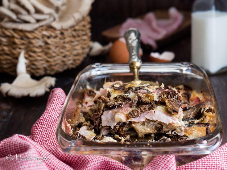 Parmigiana+di+funghi+con+prosciutto+e+fontina
