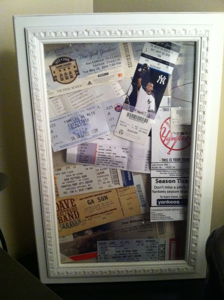 Instead of throwing all your tickets to games and concerts in a shoe box, display them in a shadow box! You're able to add to it whenever you go to something new and it's a fun display!