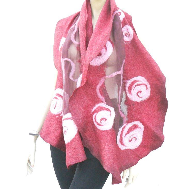 Nuno felted scarf, felted scarf flowers, Felt and Silk Shawl by MajorLaura on Etsy