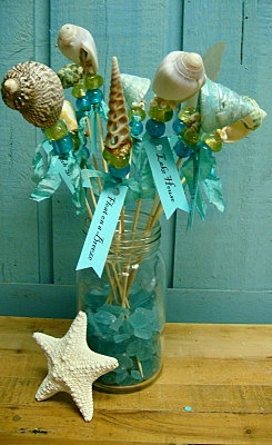 6 Turquoise Seashell Shell Beach Picks on Sticks by CastawaysHall, $30.00