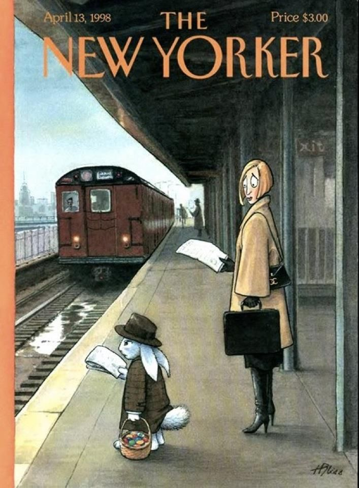 The New Yorker Cover, April 13, 1998. Harry Bliss. Woman on train platform looking at Easter bunny who is reading a newspaper and waiting for a commuter train. Prior to his cartoons and covers for The New Yorker, Bliss illustrated dozens of book covers for writers such as Lawrence Block, Dorothy Uhnak, Bob Dole, and Fiona Buckley.