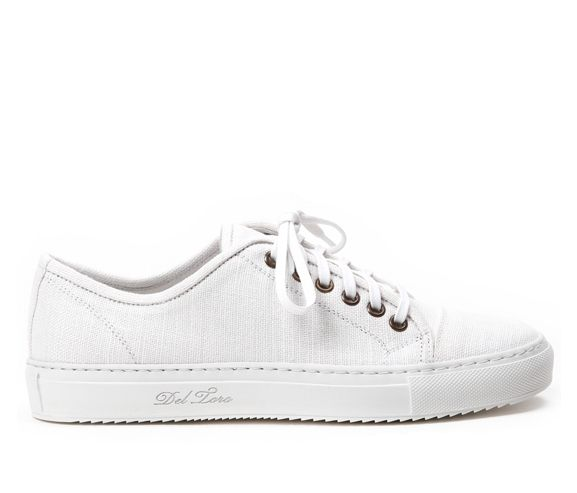 DELTORO SHOES - Women's white linen sardegna sneaker. Made in Italy.