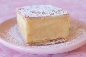 Vanilla Slice: Known in NZ as Custard Squares, and affectionately in Australia as 'Snot Blocks' (yes, so cultured, those Aussies) these custard pastries are a childhood favourite!
