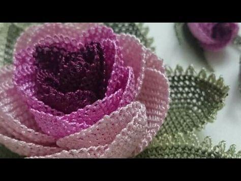 İğne oyası Gül modeli (çiçekli iğne oyası modeli ) - YouTube