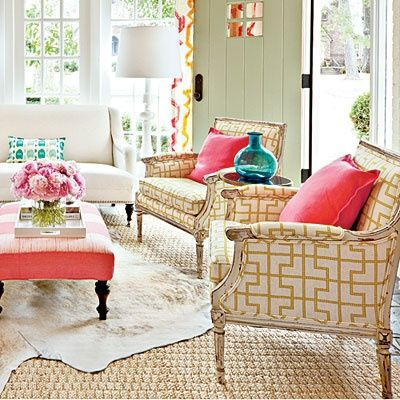 via Just. Pure. Lovely.: Colors Combos, Southern Living, Living Rooms, Pop Of Colors, Chairs Fabrics, Colors Schemes, Layered Rugs, Bright Colors, Sunroom
