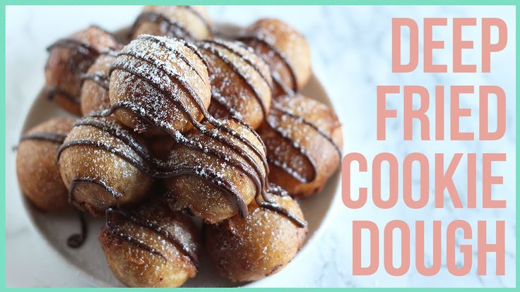 FULL PRINTABLE RECIPE: http://www.handletheheat.com/deep-fried-cookie-dough/ Deep Fried Cookie Dough made with homemade chocolate chip cookie dough, dipped i...