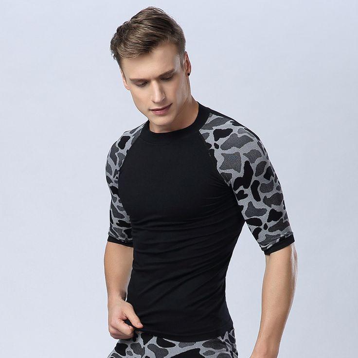 Колготки мужской спорт с коротким рукавом - рубашка леопардовый эластичный топ сушки баскетбол бег фитнес ездить обучение джерси
