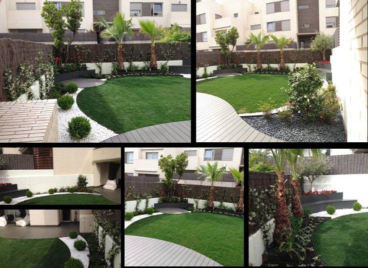 El juego geométrico dota de movimiento al jardín. La curvatura de los pavimentos naturaliza el diseño. Especies vegetales seleccionadas para una correcta evolución del jardín. Por Juan Casla Paisajismo