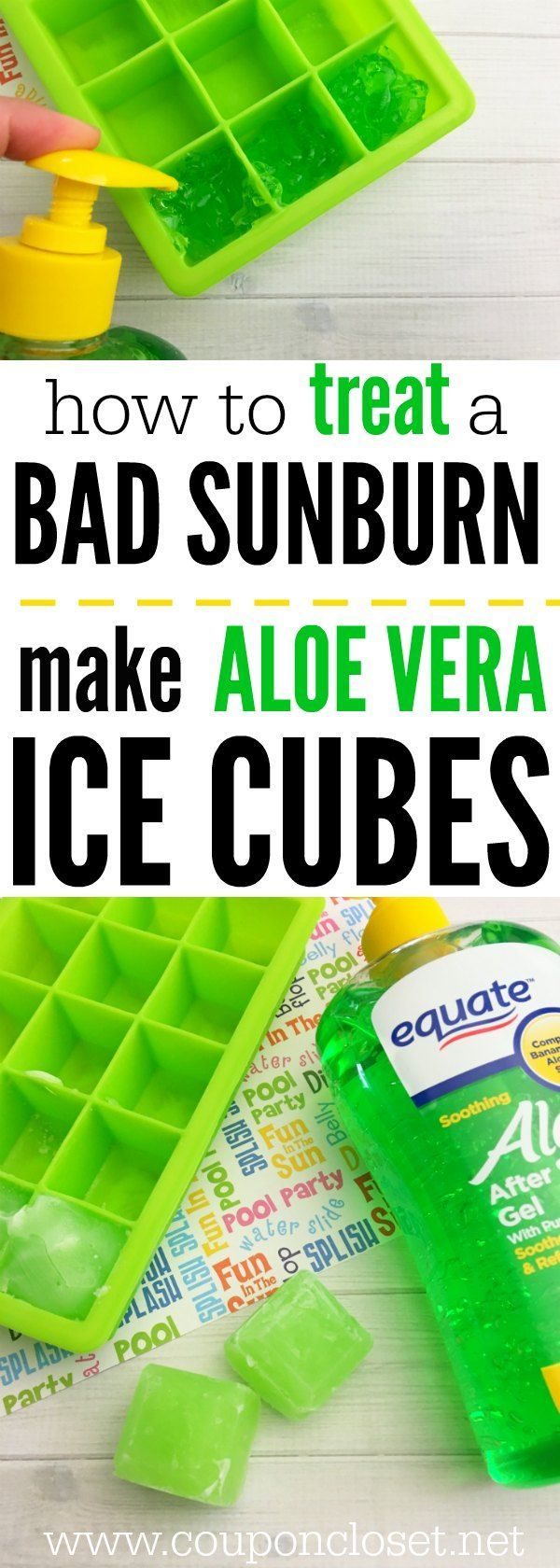 How to Treat a Bad Sunburn - Treating sunburns is easy with these easy to Make Aloe Vera Ice Cubes. They are so easy to make and the kids love them after a long day in the sun.