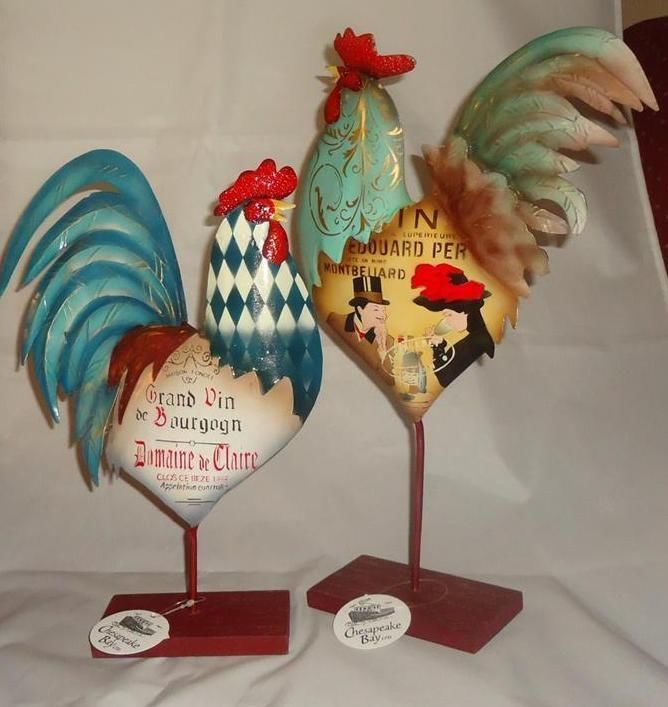 "Two Standing Tin Roosters w Wine Themed Print French Country Decor Birds 15"" NWT"