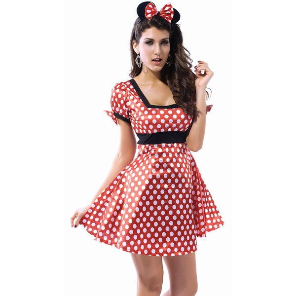 Glamour Sexy Halloween Womens Minnie Mouse Fancy Dress Costume Outfit (33 AUD) ❤ liked on Polyvore