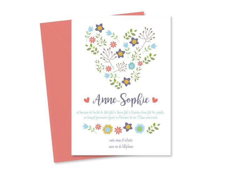 Invitation anniversaire fleurs à imprimer, Carte invitation coeur personnalisée, Anniversaire fille, Carte invitation anniversaire femme de la boutique KaritasDesign sur Etsy