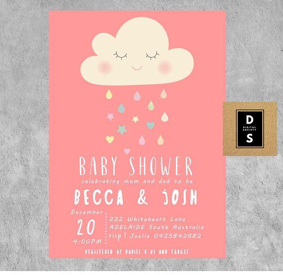 baby shower digital invitation invitations girl pink