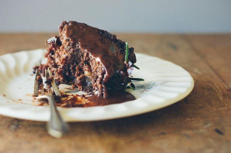my darling lemon thyme: Exciting news + Dark chocolate, pear + rosemary cake {gluten + dairy-free}