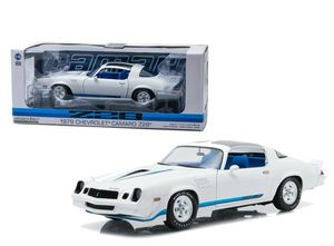 Greenlight 1/18 Scale 1979 Chevy Camaro Z28 White With Blue Stripes Diecast Car Model 12903