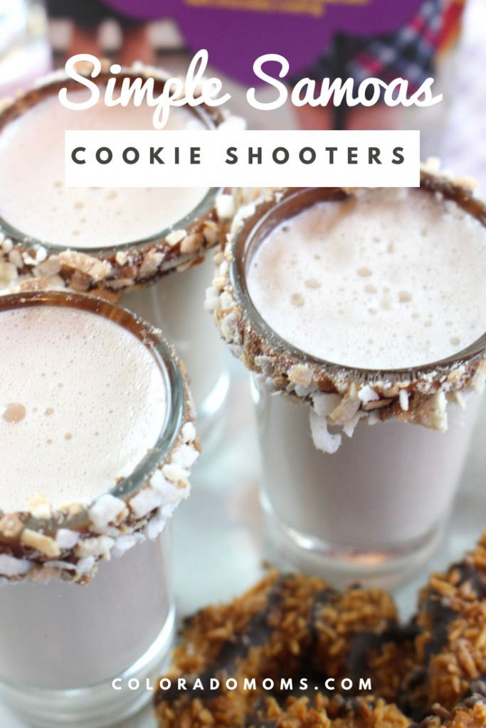 Simple Samoas Cookie Shooters – A fun twist on a classic girl scout cookie. Adults will love this delicious drink. Great for parties! ColoradoMoms.com