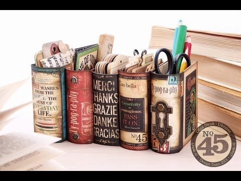The 2013/14 Graphic 45 Design Team is REALLY phenomenal! Yesterday on the Graphic 45 blog, Olga Struk posted the cutest desk organizer that looks like a group of books. Due to popular demand she creat