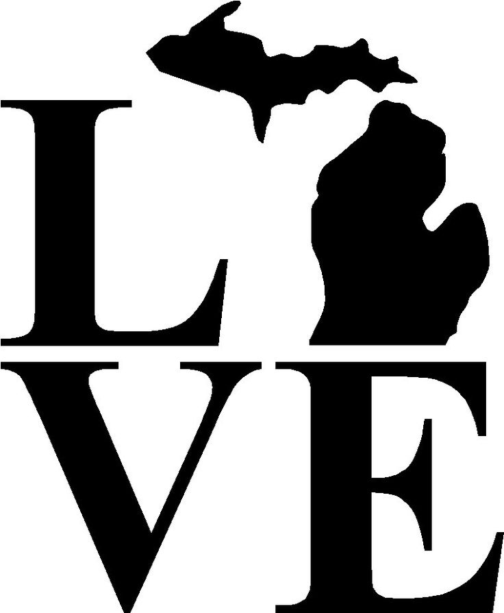 Love michigan vinyl car window decal v1 cars string for Window transfers