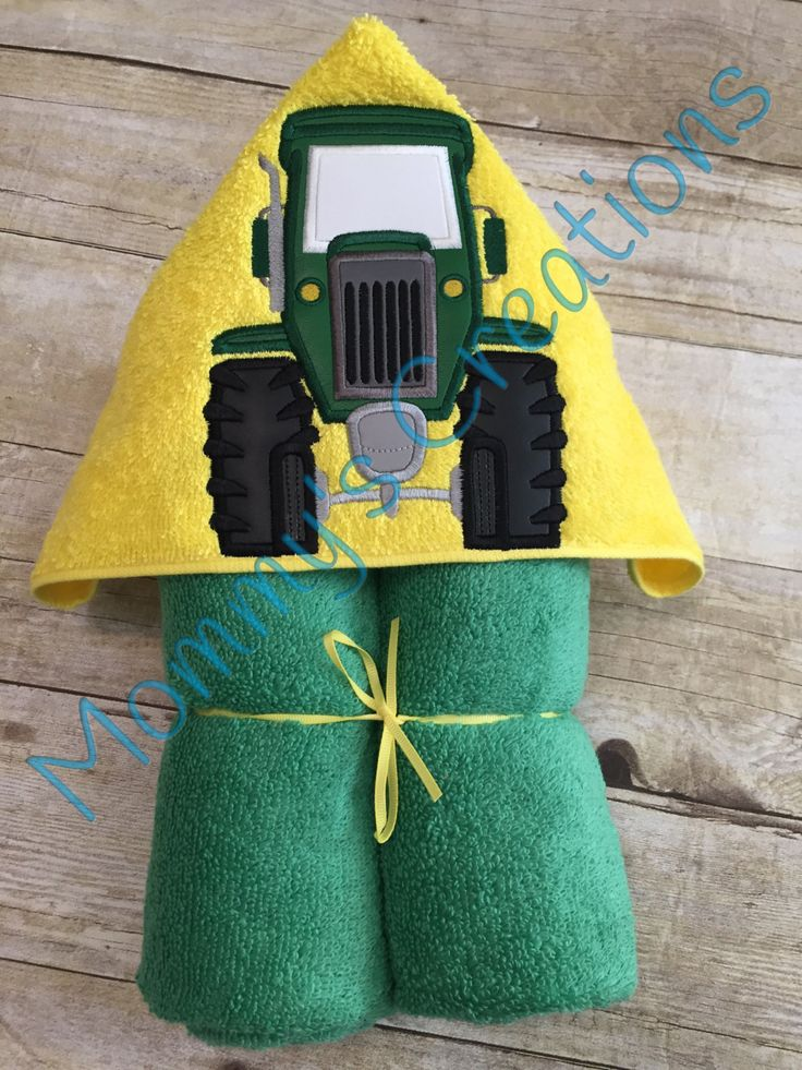 """Tractor Applique Hooded Bath Towel, beach Cover Up 30"""" x 54"""" by MommysCraftCreations on Etsy"""