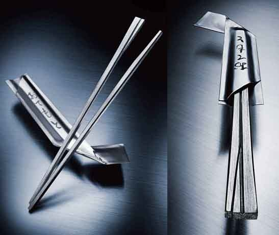 Steel chopsticks by Shinmei Yamamoto