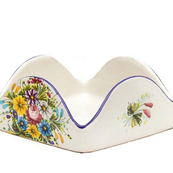 Portatovaglioli quadrato in ceramica Fioraccio - Liberati
