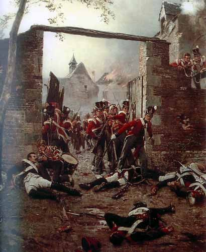 The Battle of Waterloo,  18th June,  1815.  After the battle at the gates of Hougemont
