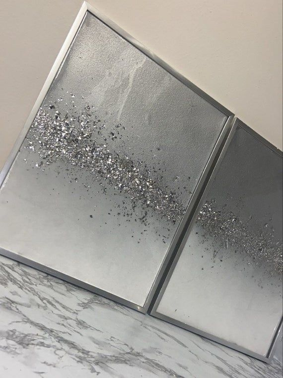 Glam Wall Art Glitter Painting Resin Painting Resin Home Decor Silver Resin Painting Luxury Whi Glam Wall Art Silver Wall Art Glitter Wall Art