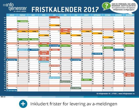Last ned gratis: Fristkalender regnskap 2017