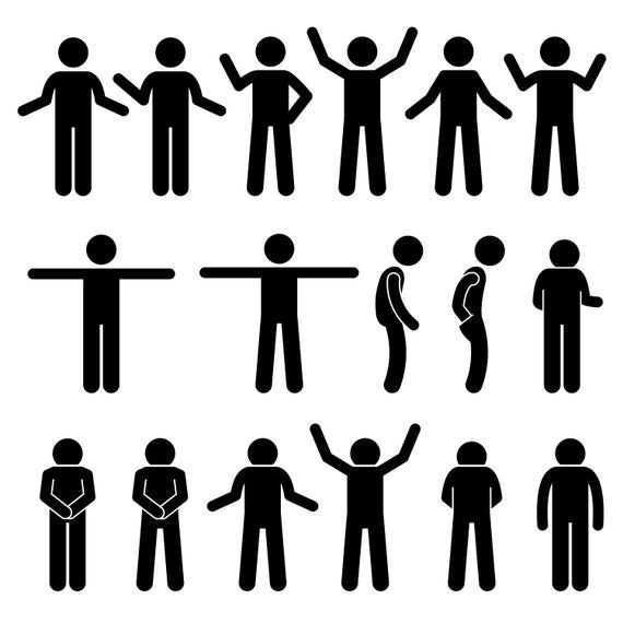 Stick Figure Stickman Stick Man People Person Poses Postures Etsy In 2021 Body Gestures Pictogram Stick Figures