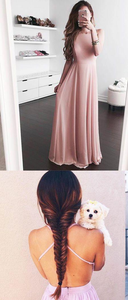 Beautiful A-Line Open Back Pink Chiffon Long Prom/Evening Dress