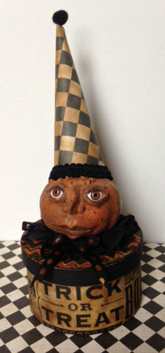 Halloween Decoration Paper Mache Box Pumpkin Art