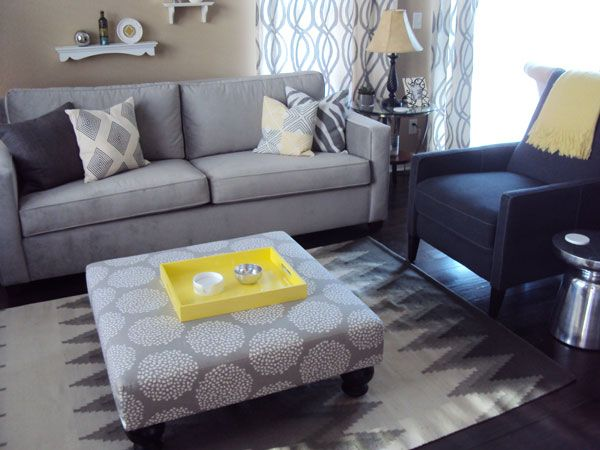 Living room beige khaki walls grey blue furniture pops of yellow living room ideas Gray blue yellow living room