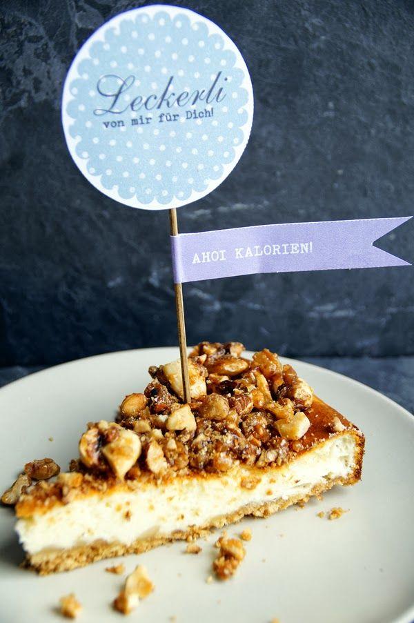 mhhh..., war der lecker! Käsekuchen mit karamelisierten Nüssen www.spoonandkey.blogspot.de