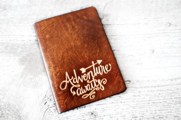 Adventure Awaits genuine leather passport cover travel wallet is the perfect gift for any occasion. Choose from four pocket styles (seen in image TWO). Leather finish is sunburst (shown in images). Su