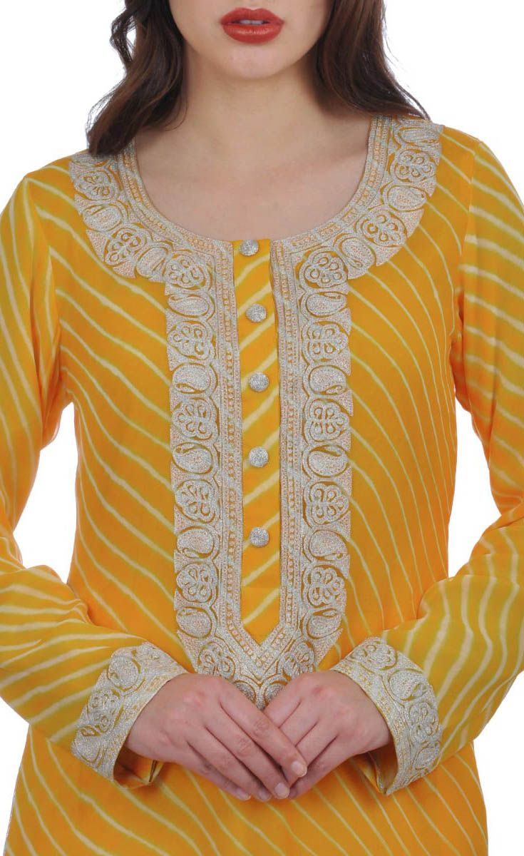 Mustard Handcrafted Leheriya Suit With Kashmiri Tilla Embroidery