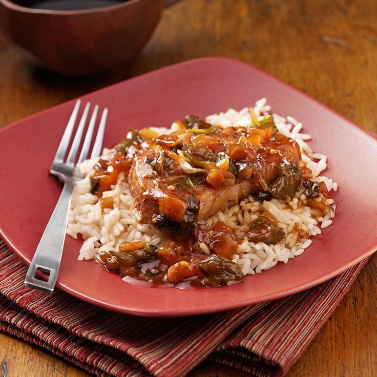 Sweet and Tangy Asian Pork Chops Recipe -I have always enjoyed Asian food, and when I had pork chops, I put this recipe together. The sauce is sweet and tangy and the meat is moist and tender. —Betty Kercheval, Bellevue, Washington