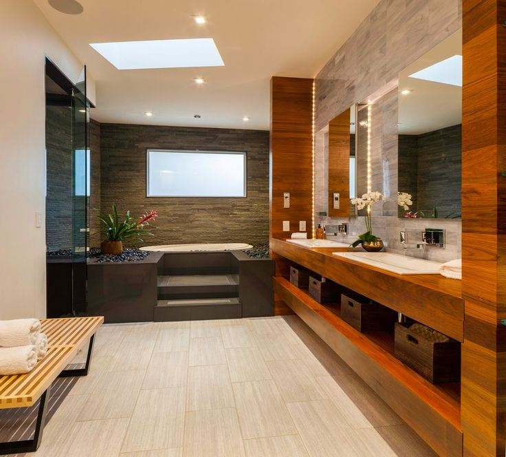 306 best awesome bathrooms images on pinterest bathroom this bathroom made myheart skip a beat the natural wood the stone walls and pebbles around tge tub must feel like a bathroom in a grotto aloadofball Images