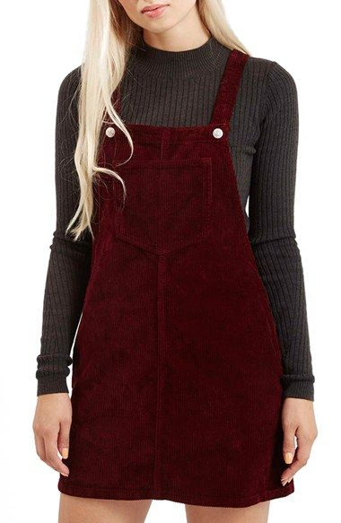 Topshop Moto Corduroy Pinafore Dress (Petite) available at #Nordstrom